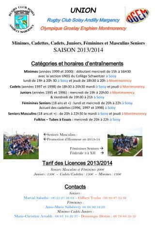 Tarif des Licences 2013/2014 Seniors Masculins et Féminines 200€