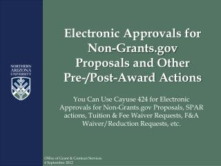 Electronic Approvals for Non-Grants Proposals and Other  Pre-/Post-Award Actions