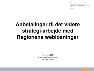 Anbefalinger til det videre strategi-arbejde med Regionens webløsninger