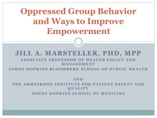 Oppressed Group Behavior and Ways to Improve Empowerment