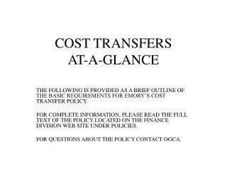COST TRANSFERS AT-A-GLANCE