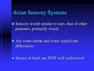 Avian Sensory Systems