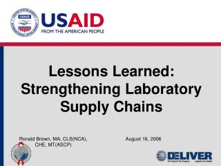 Lessons Learned: Strengthening Laboratory Supply Chains