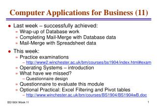 Computer Applications for Business (11)