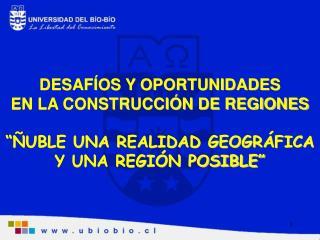 """DESAFÍOS Y OPORTUNIDADES EN LA CONSTRUCCIÓN DE REGIONES """"ÑUBLE UNA REALIDAD GEOGRÁFICA"""