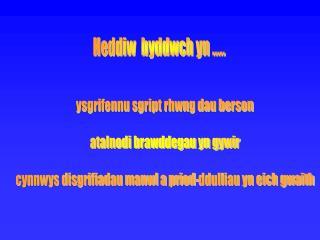 Heddiw  byddwch yn .....
