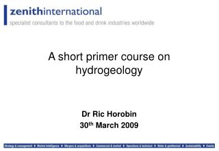 A short primer course on hydrogeology