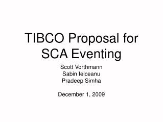 TIBCO Proposal for SCA Eventing