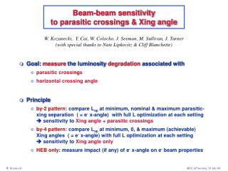 Beam-beam sensitivity  to parasitic crossings & Xing angle