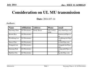Consideration on UL MU transmission
