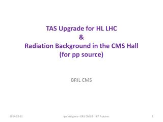TAS Upgrade for HL LHC & Radiation Background in the CMS Hall (for pp source)