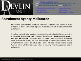 Devlin Alliance - Melbourne Recruitment Agency