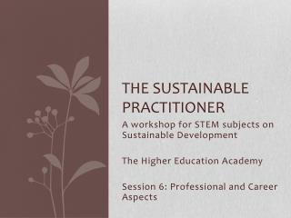 The Sustainable practitioner