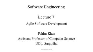 Software Engineering Lecture 7 Lecture # 7