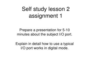 Self study lesson 2 assignment 1