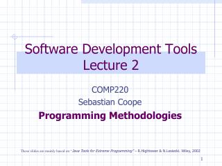 Software Development Tools Lecture 2