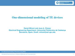 One-dimensional modeling of TE devices