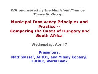 BBL sponsored by the Municipal Finance Thematic Group