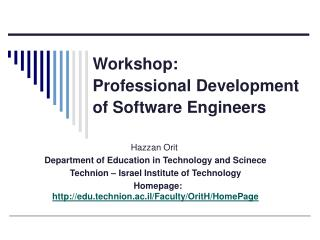 Workshop: Professional Development of Software Engineers