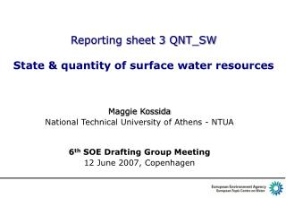 Reporting sheet 3  QNT_SW State & quantity of surface water resources