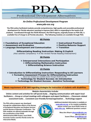 An Online Professional Development Program pda- ese