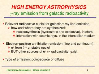 HIGH ENERGY ASTROPHYSICS -ray  emission from galactic radioactivity