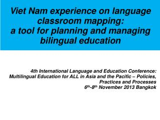 Viet Nam experience on language classroom mapping: