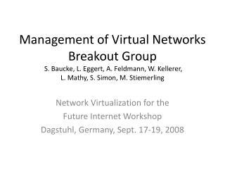 Network Virtualization for the  Future Internet Workshop Dagstuhl, Germany, Sept. 17-19, 2008