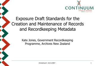 Kate Jones,  Government Recordkeeping Programme,  Archives New Zealand