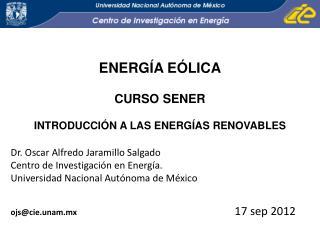 ENERGÍA EÓLICA CURSO SENER INTRODUCCIÓN A LAS ENERGÍAS RENOVABLES