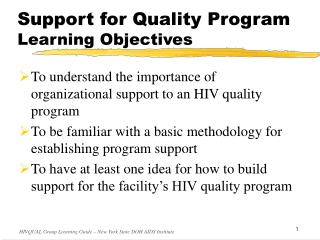 Support for Quality Program Learning Objectives