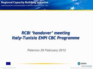 RCBI 'handover' meeting Italy-Tunisia ENPI CBC Programme