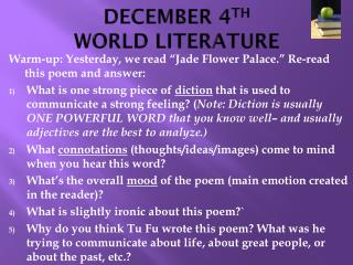 DECEMBER 4 TH WORLD LITERATURE