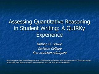 Assessing Quantitative Reasoning in Student Writing: A QuIRKy Experience