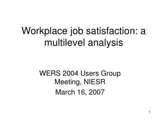 Workplace job satisfaction: a multilevel analysis