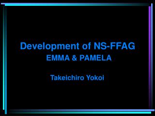 Development of NS-FFAG EMMA & PAMELA