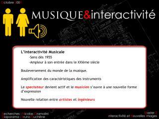 L'Interactivité Musicale Sens dès 1955 Ampleur à son entrée dans le XXIème siècle