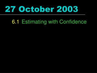 27 October 2003