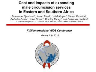 Cost and Impacts of expanding  male circumcision services  in Eastern and Southern Africa