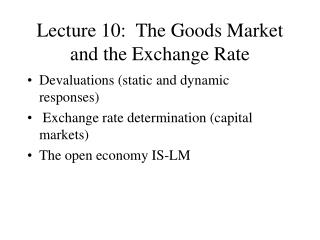 Lecture 10:  The Goods Market and the Exchange Rate