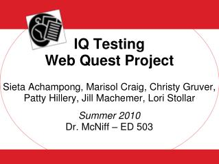 IQ Testing  Web Quest Project