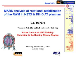 MARS analysis of rotational stabilization of the RWM in NSTX & DIII-D AT plasmas