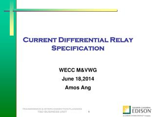 Current Differential Relay Specification