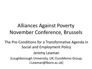 Alliances Against Poverty November Conference, Brussels