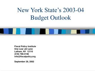 New York State's 2003-04 Budget Outlook