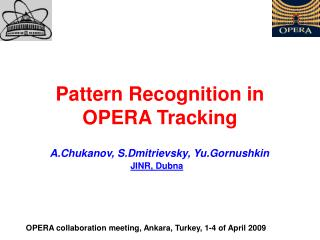 Pattern Recognition in OPERA Tracking