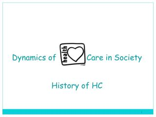 Dynamics of             Care in Society History of HC
