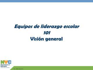 Equipos de liderazgo escolar 101 Visión general