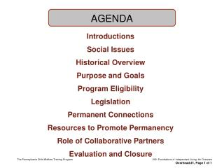 Introductions Social Issues Historical Overview Purpose and Goals Program Eligibility Legislation
