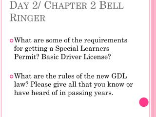 Day 2/ Chapter 2 Bell Ringer